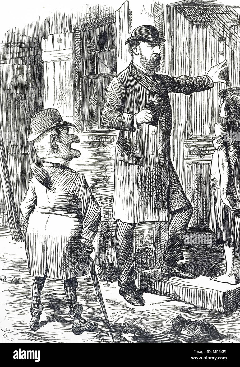 Cartoon commenting on the state of the living conditions of London's poor. Dated 19th century - Stock Image