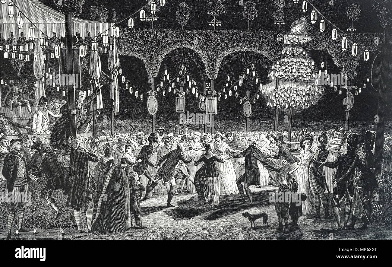 Engraving depicting the 1793 Ball of the Bastille. Dated 18th century - Stock Image
