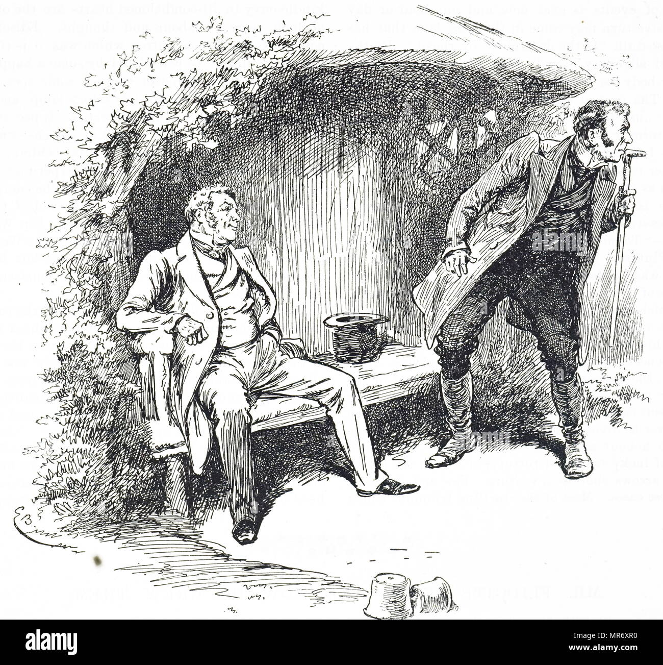 Engraving depicting two gentlemen enjoying a summer's day in the shade of the summer house. Dated 19th century - Stock Image