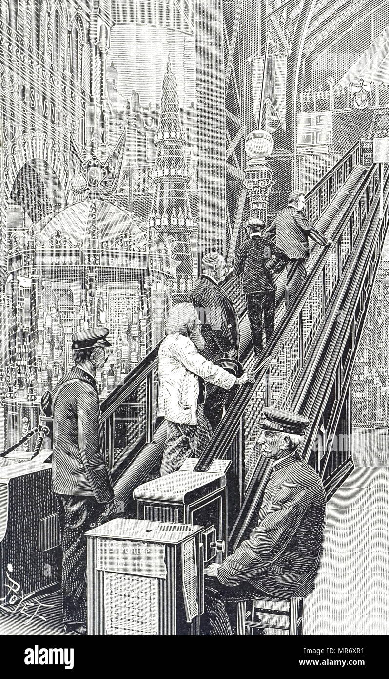Engraving depicting an escalator in use at the Paris Exposition. The first escalator was introduced in New York in 1894. Dated 19th century - Stock Image