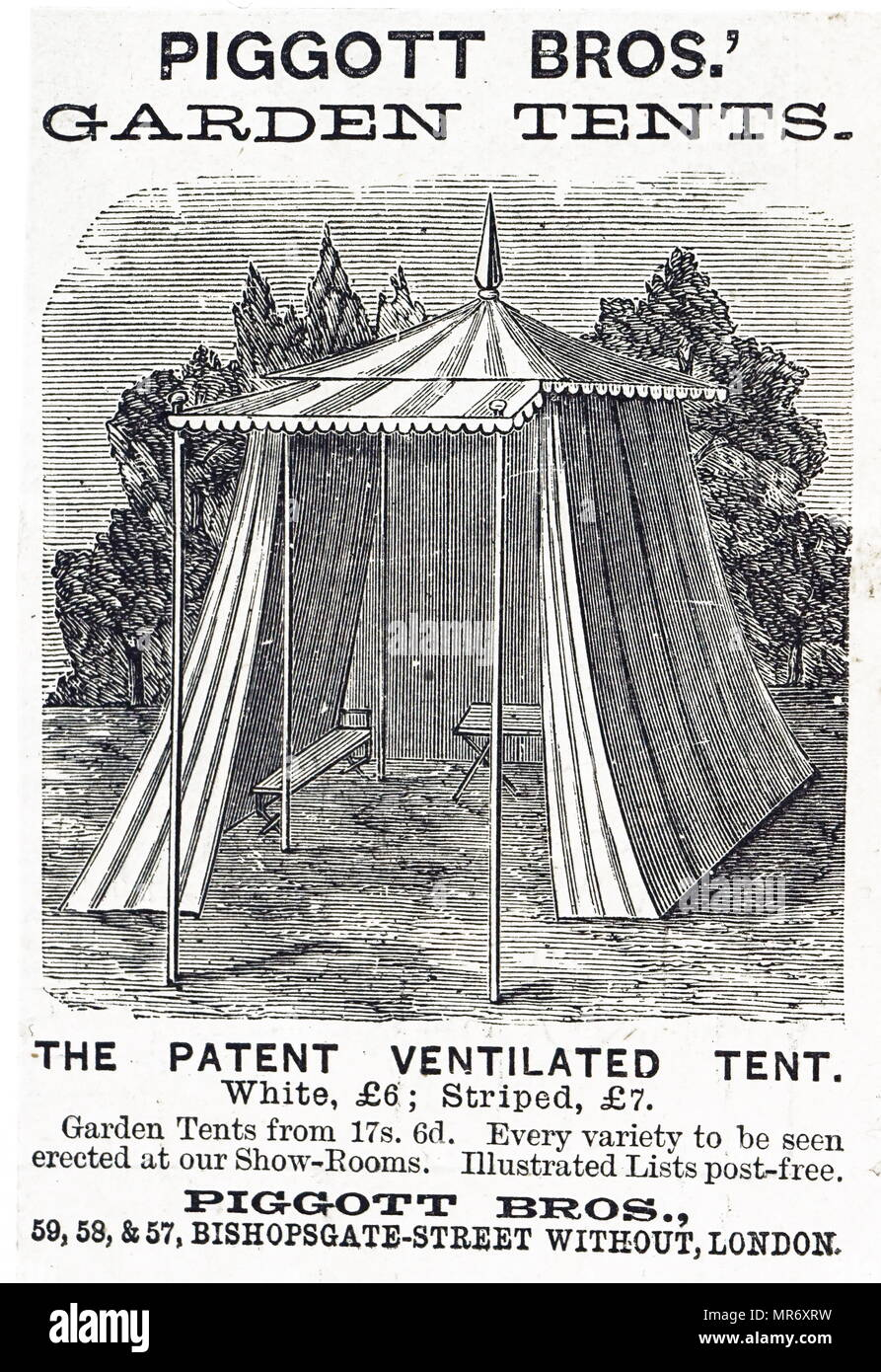 Advertisement For A Canvas Tent Dated 19th Century Stock Photo