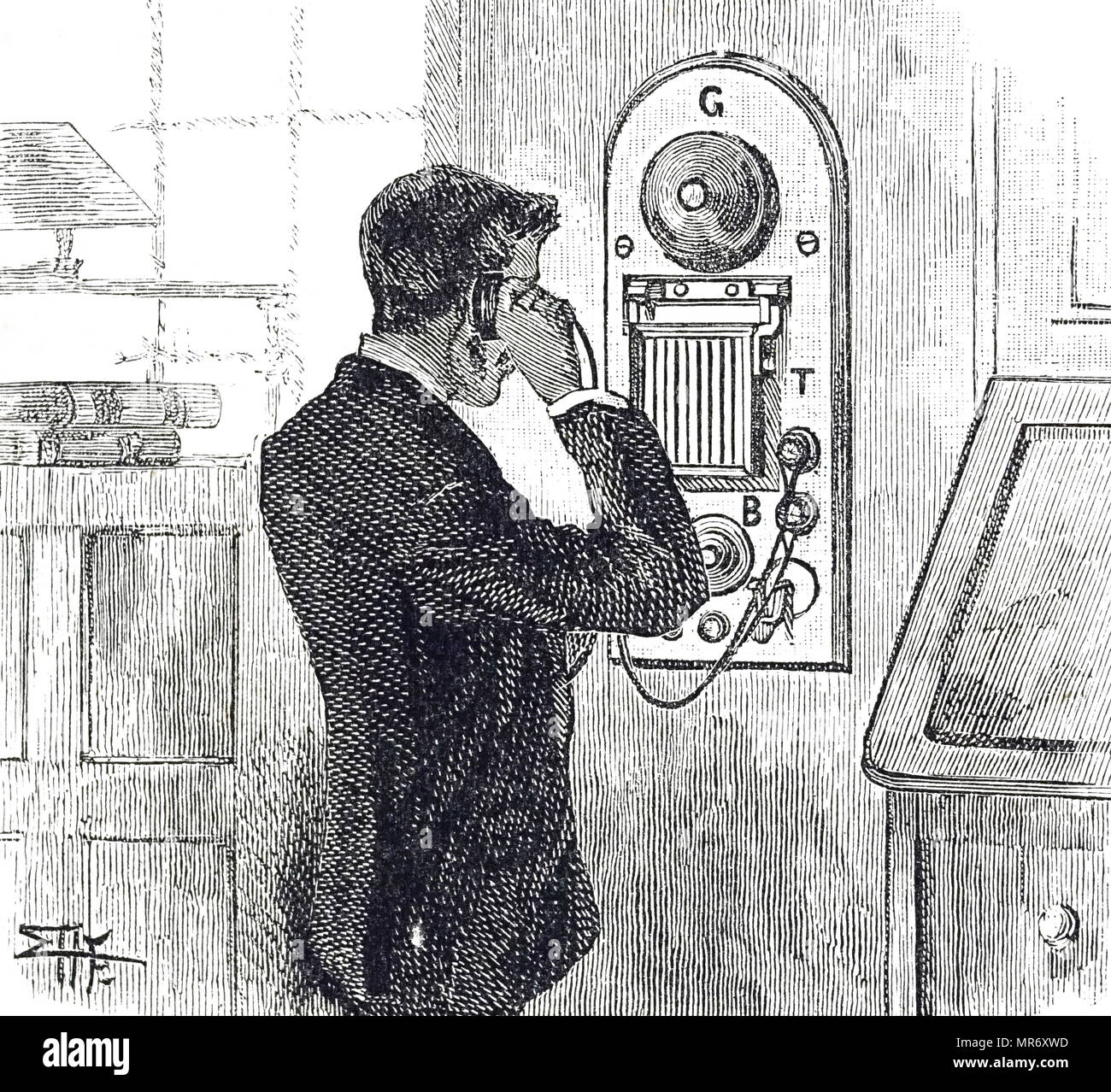 Engraving depicting Alan Archibald Campbell-Swinton's telephone. Alan Archibald Campbell-Swinton (1863-1930) a Scottish consulting electrical engineer. Dated 19th century - Stock Image