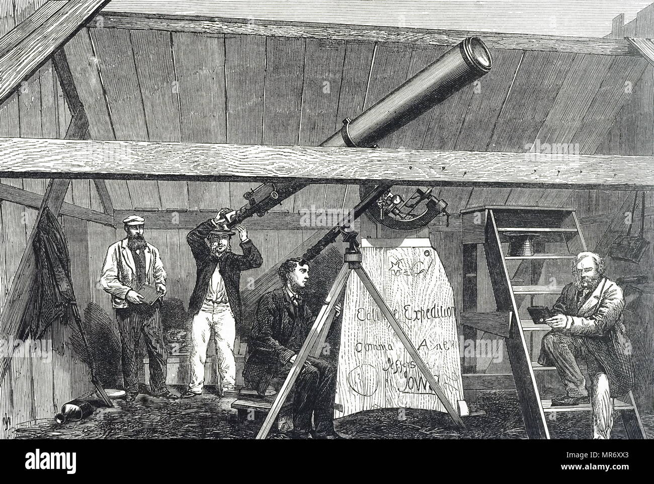 Engraving depicting the Canadian Eclipse Expedition preparing to observe the total solar eclipse in 1869 from Jefferson City, Iowa. Dated 19th century - Stock Image