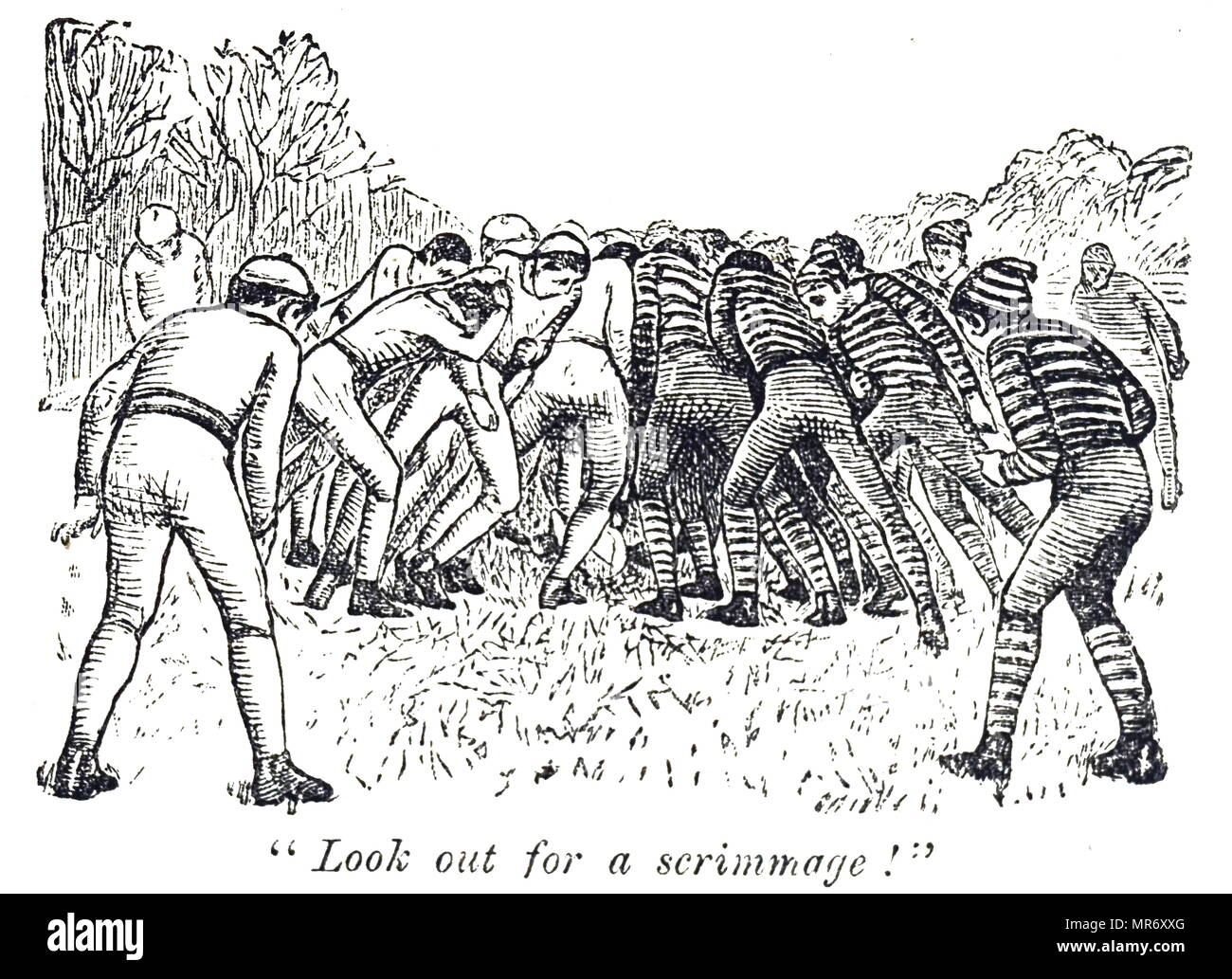 Illustration depicting a scrimmage during a game of rugby. A scrum is an ordered formation of players, used to restart play, in which the forwards of a team form up with arms interlocked and heads down, and push forward against a similar group from the opposing side. The ball is thrown into the scrum and the players try to gain possession of it by kicking it backwards towards their own side. Dated 19th century - Stock Image