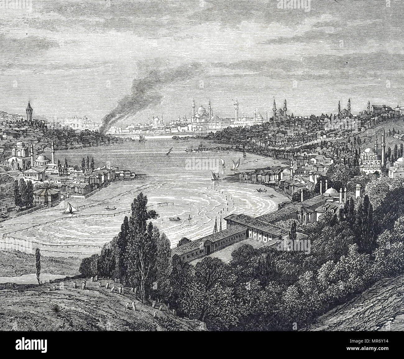Engraving depicting a view of Constantinople, the old capital city of the Roman/Byzantine, and the later Ottoman Empires. Dated 19th century - Stock Image