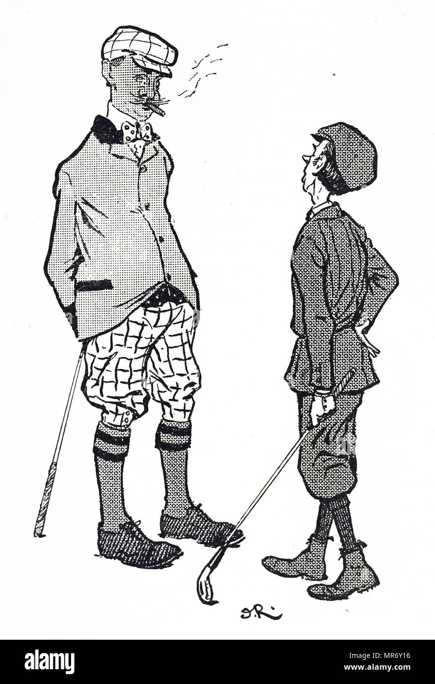 Cartoon depicting golfing fashion during the early 20th century. Dated 20th century - Stock Image