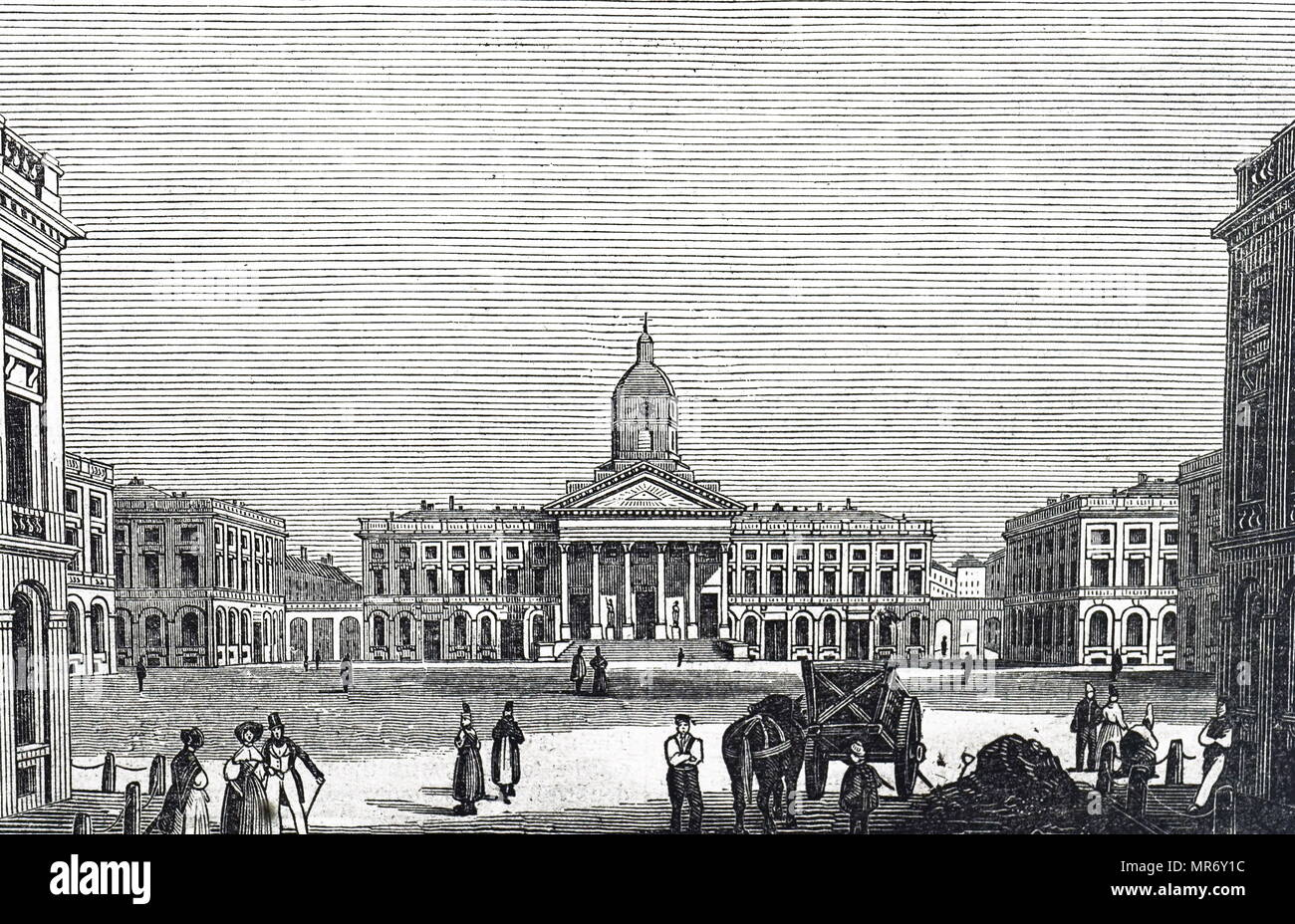 Engraving depicting the Royal Palace of Brussels,  the official palace of the King and Queen of the Belgians in the centre of the nation's capital Brussels. Dated 19th century Stock Photo