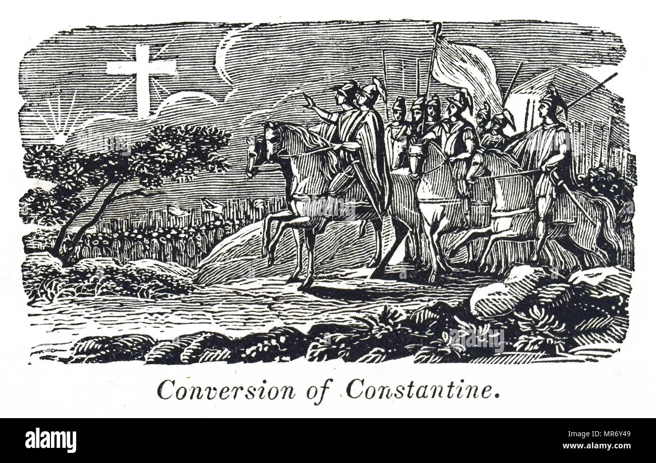 Woodblock engraving depicting the conversion of Constantine the Great before the Battle of Milvian Bridge. Constantine the Great (272 AD-337 AD) a Roman Emperor of Illyrian origin. Dated 19th century - Stock Image