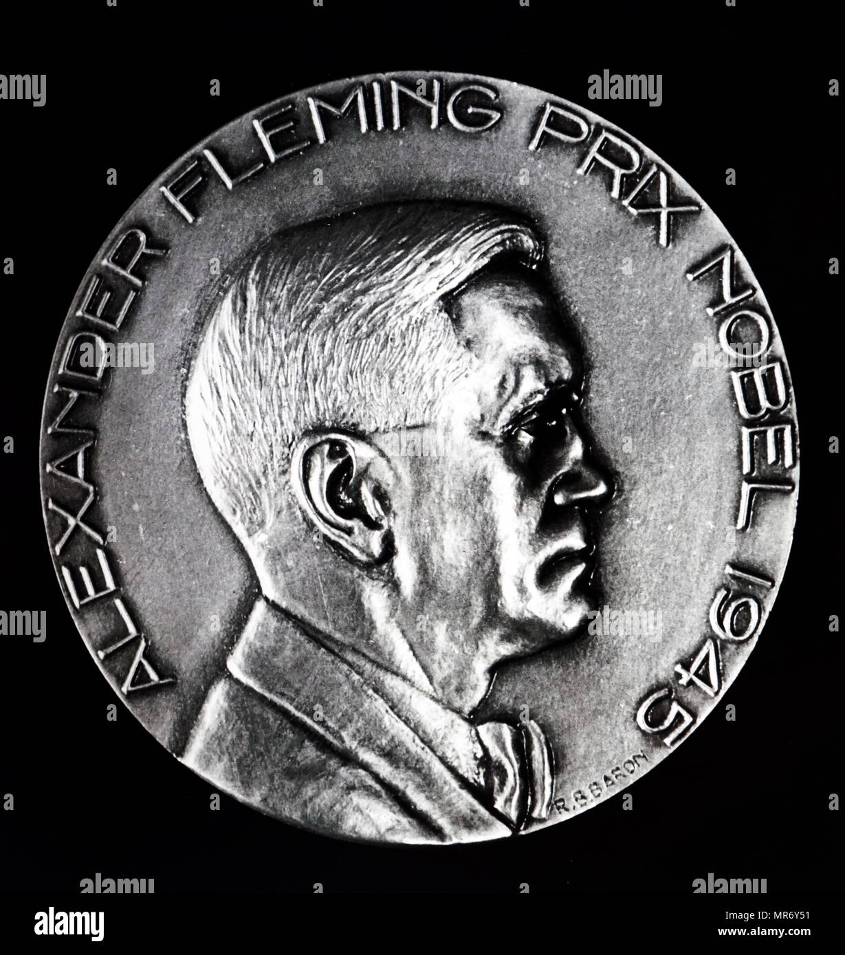 Medal commemorating Alexander Fleming's Nobel Prize win in 1945. Alexander Fleming (1881-1955) a Scottish physician, microbiologist, and pharmacologist. Dated 20th century - Stock Image