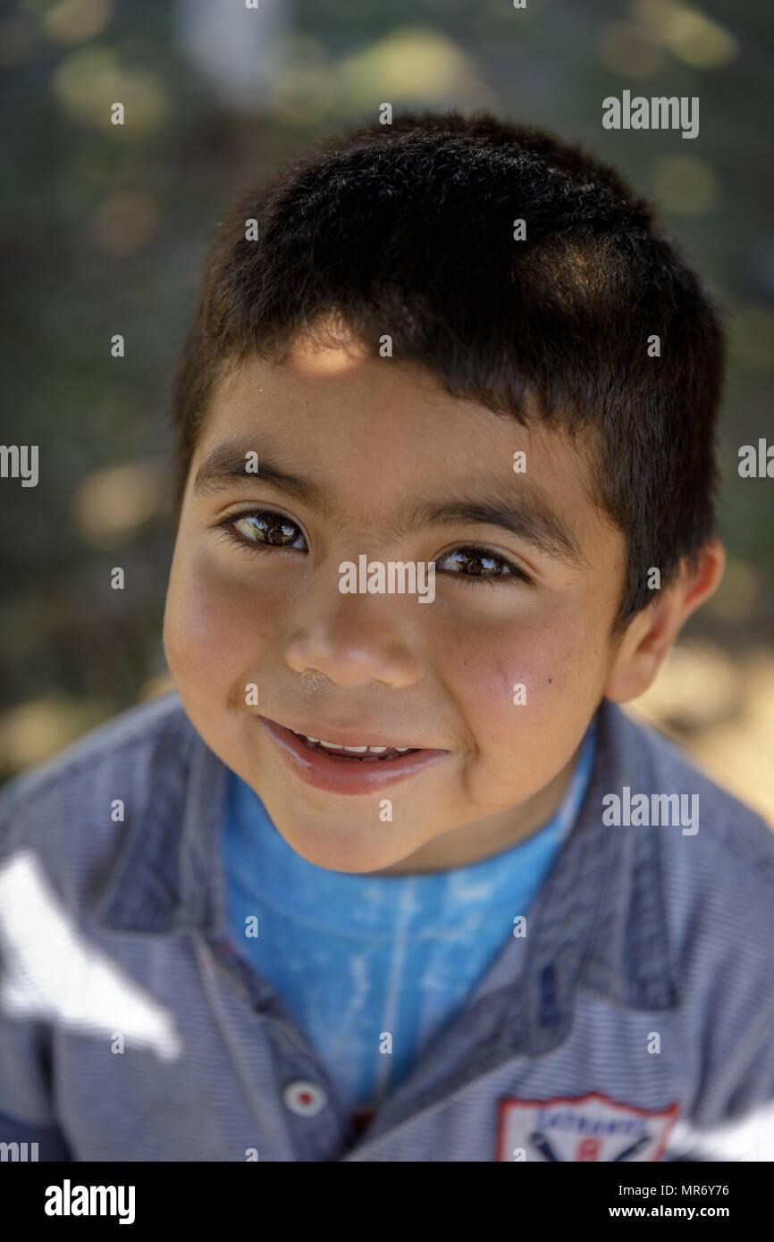 Cholchol, La Araucania, Chile: A Mapuche boy. - Stock Image