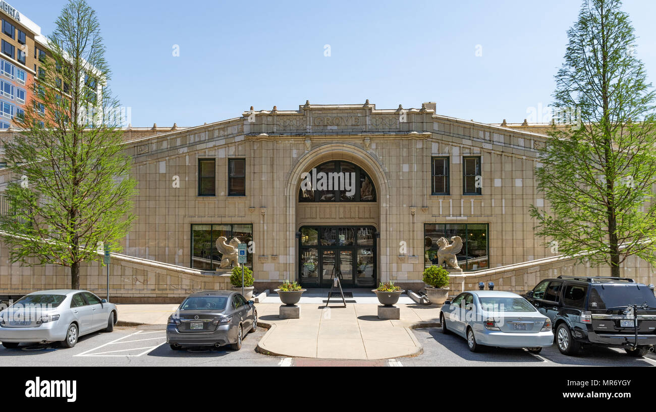 ASHEVILLE, NC, USA-13 MAY18:The north entrance of the historic Grove Arcade, a 1929 architectural masterpiece, created by E.W. Grove. - Stock Image