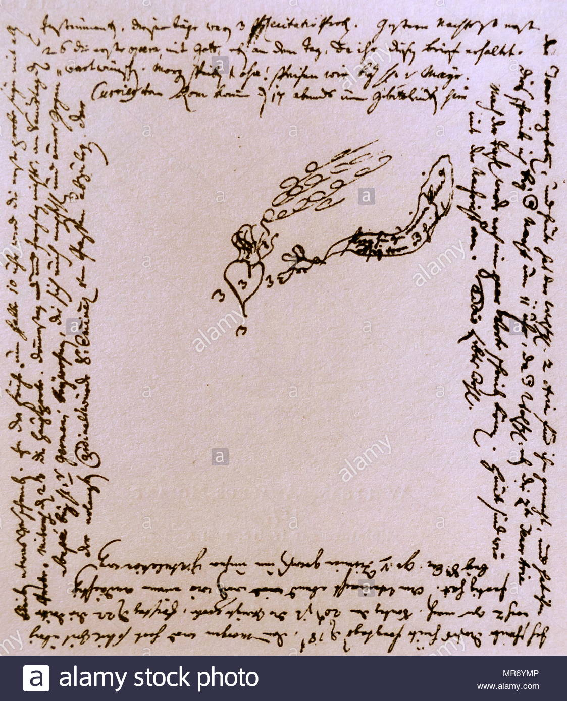Letter written by Mozart to his sister Marianne during his tour of Italy, days after the completion of his Opera, Lucio Silla in 1772, at the Teatro Regio Ducal in Milan  Wolfgang Amadeus Mozart (1756 – 1791), was a prolific and influential composer of the Classical era. - Stock Image
