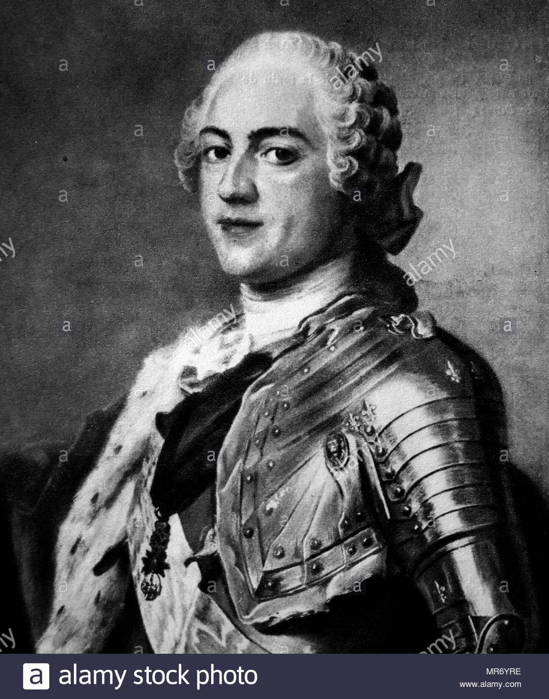 Louis XV (1710 – 1774), known as Louis the Beloved, (Louis le bien Aimé), was a monarch of the House of Bourbon who ruled as King of France from 1715 until his death in 1774. Portrait by Maurice-Quentin de La Tour, 1748 - Stock Image