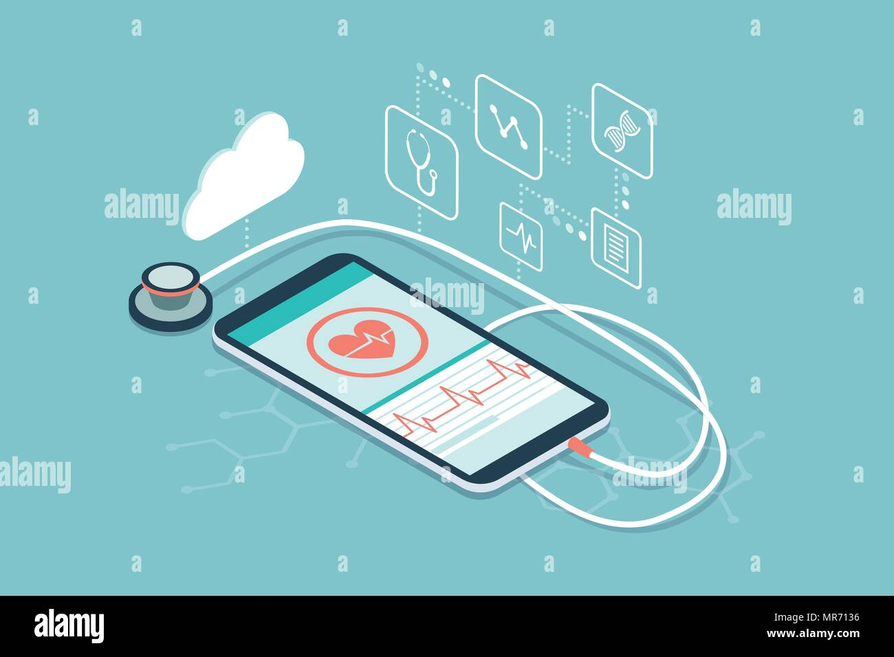 Digital stethoscope connected to a smartphone and icons: innovative medical diagnosis and technology concept - Stock Image