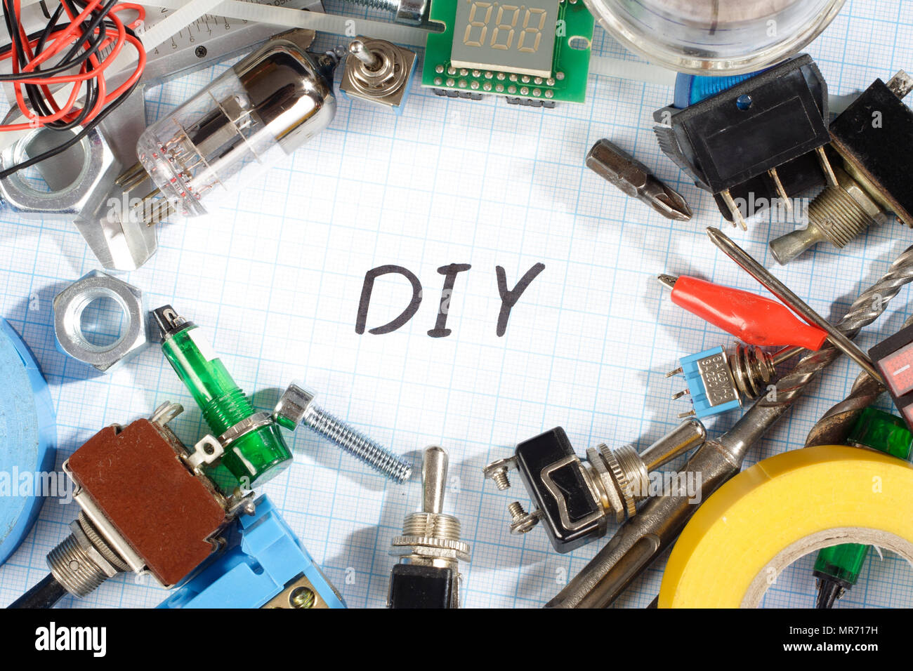 Do it yourself - old retro radio electronic parts vintage background