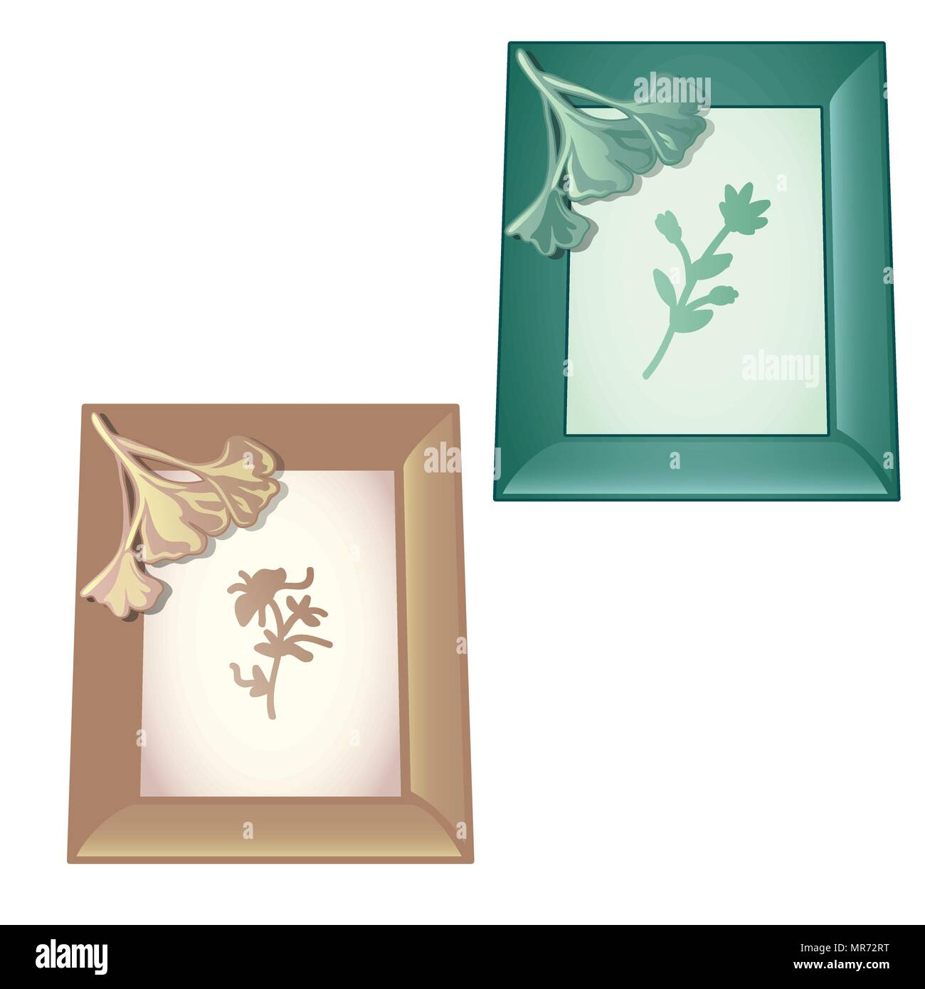 Two wall-mounted wooden frame with designs on the theme of vegetable isolated on white background. Vector cartoon close-up illustration. - Stock Image