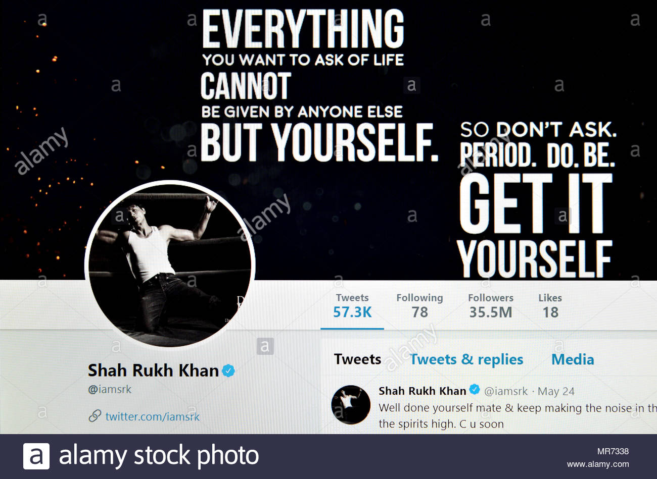 Shah Rukh Khan Twitter page (2018) - Stock Image