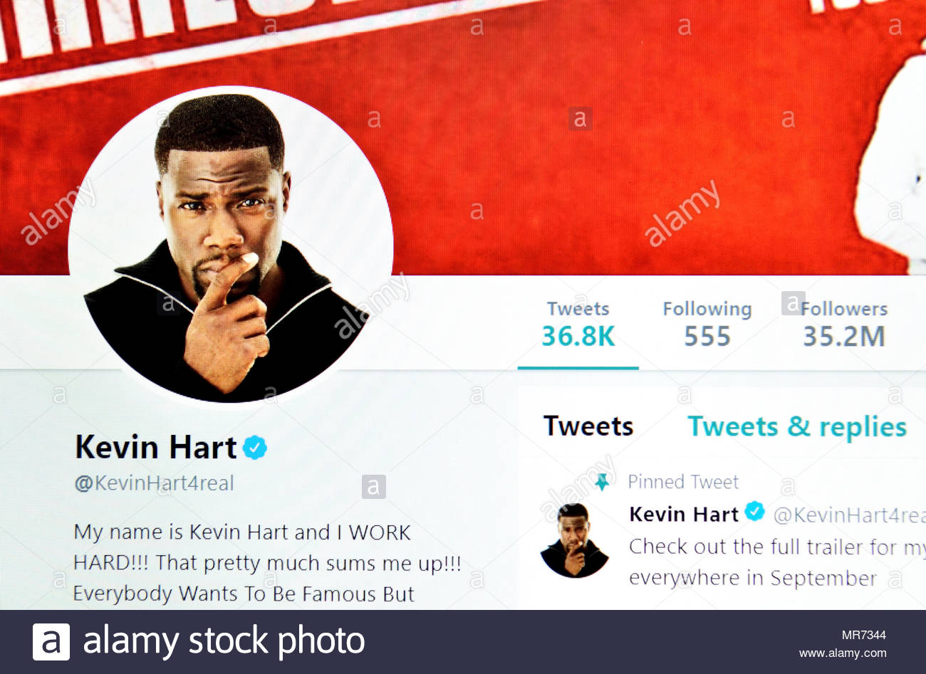 Kevin Hart (American comedian and actor) Twitter page (2018) - Stock Image