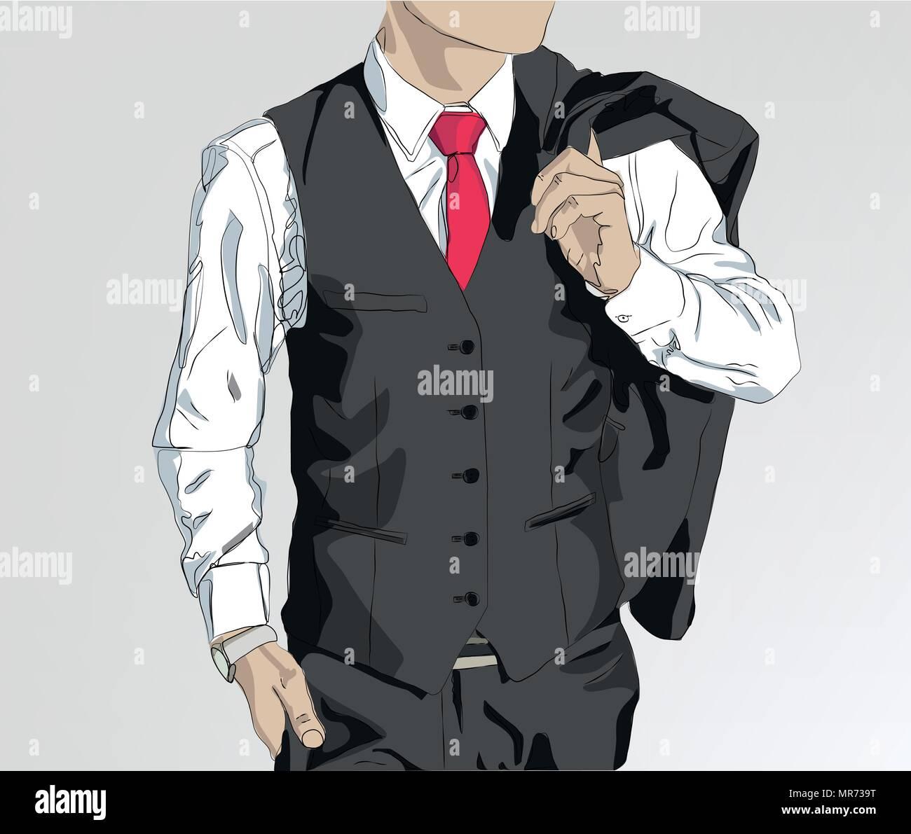 man wearing suit illustration , business concept vector