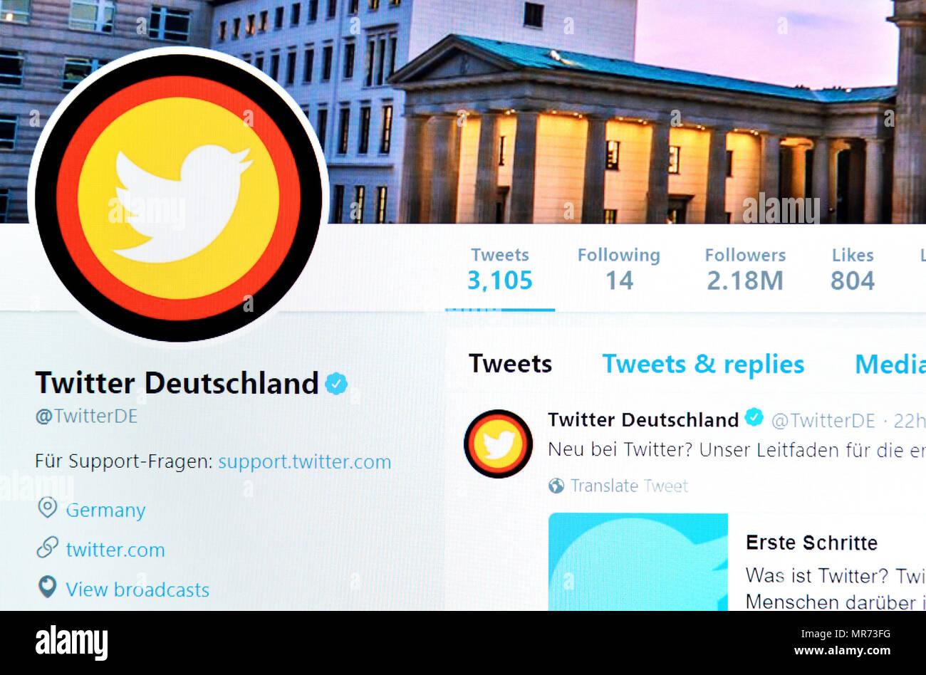 Twitter Deutschland official German Twitter page (2018) - Stock Image