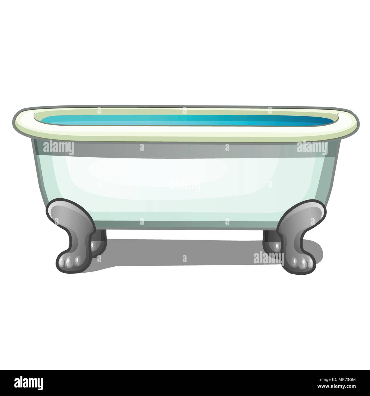 Tub steel legs filled with water isolated on a white background ...