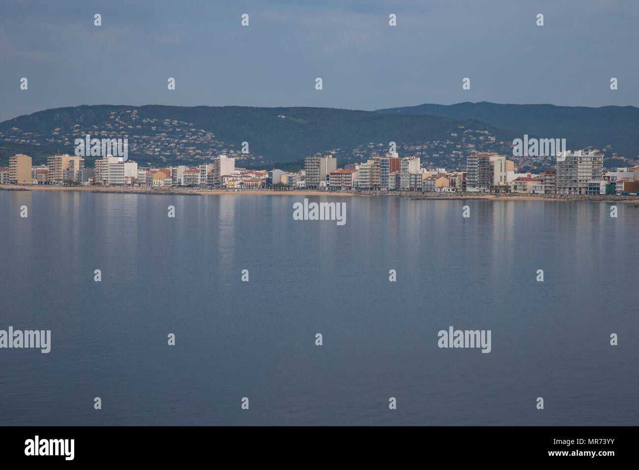 Panoramic view of the Spanish seaside resort of Palamos seen from a cruise ship - Stock Image