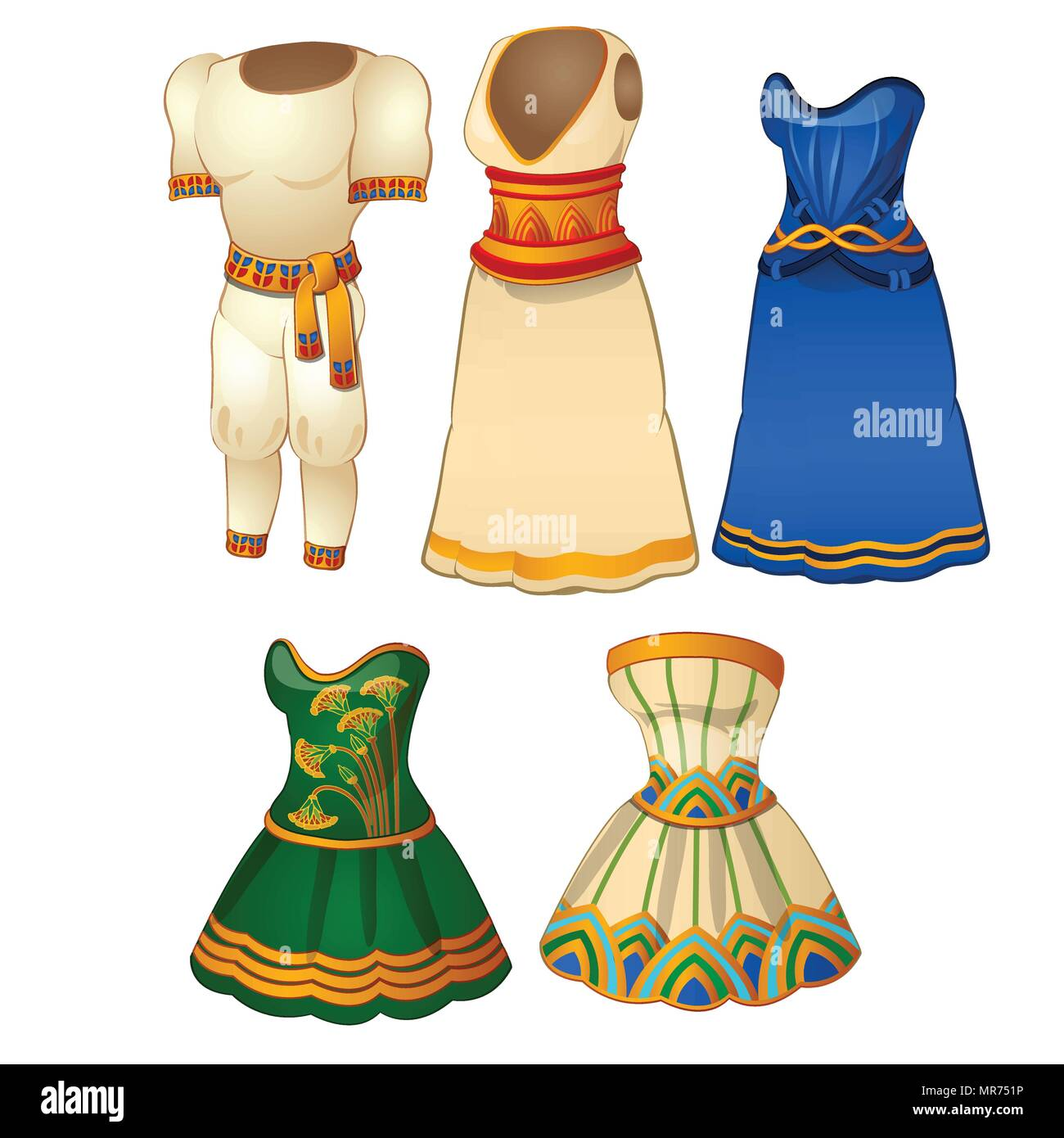 A set of mens and womens clothing in the style of ancient Egypt. Vector illustration. - Stock Vector