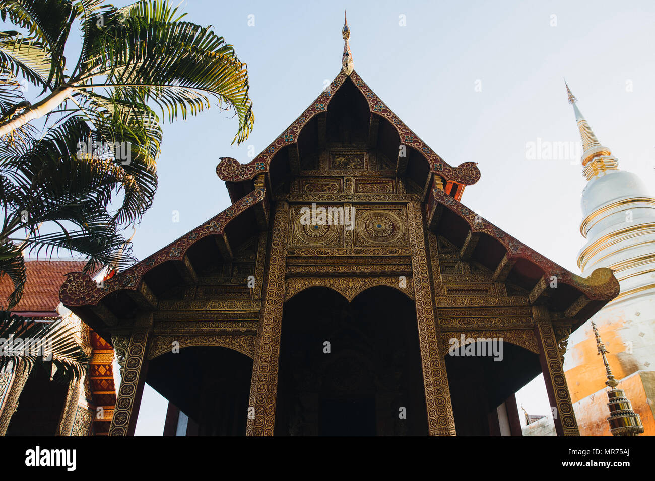 beautiful architecture of ancient buildings at Chiang Mai, Thailand - Stock Image