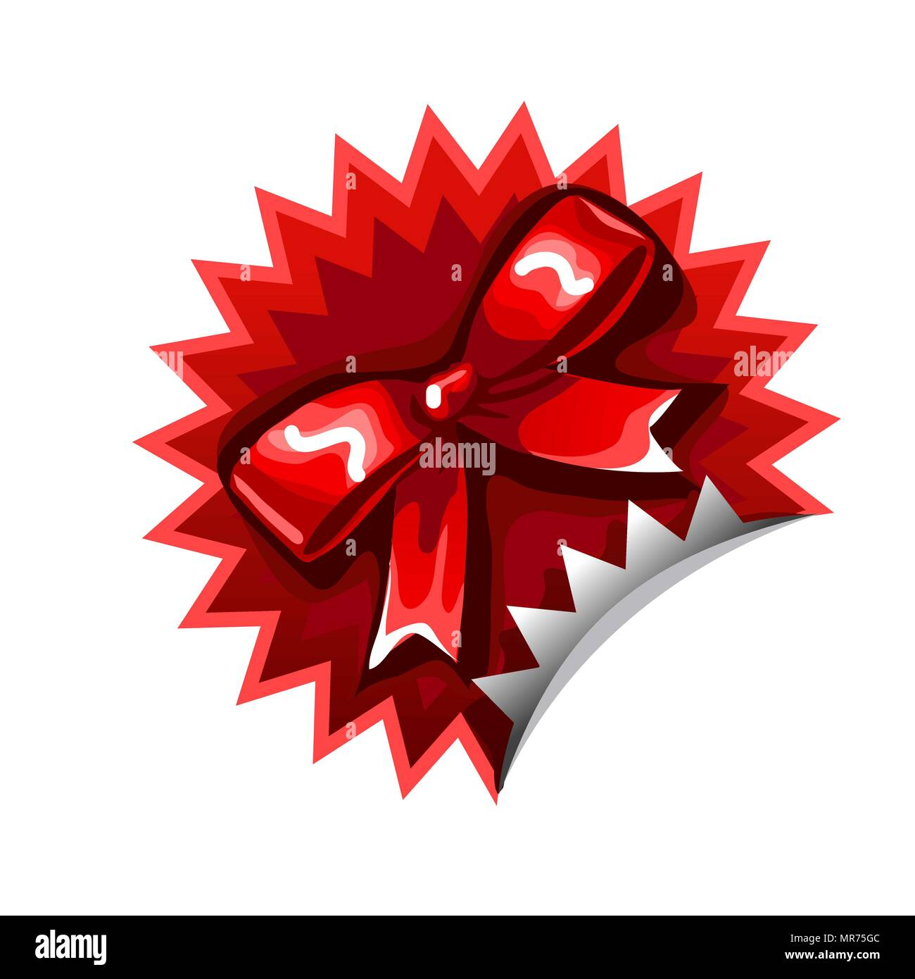 Red sticker with a bowknot isolated on a white background. Cartoon vector close-up illustration. - Stock Vector