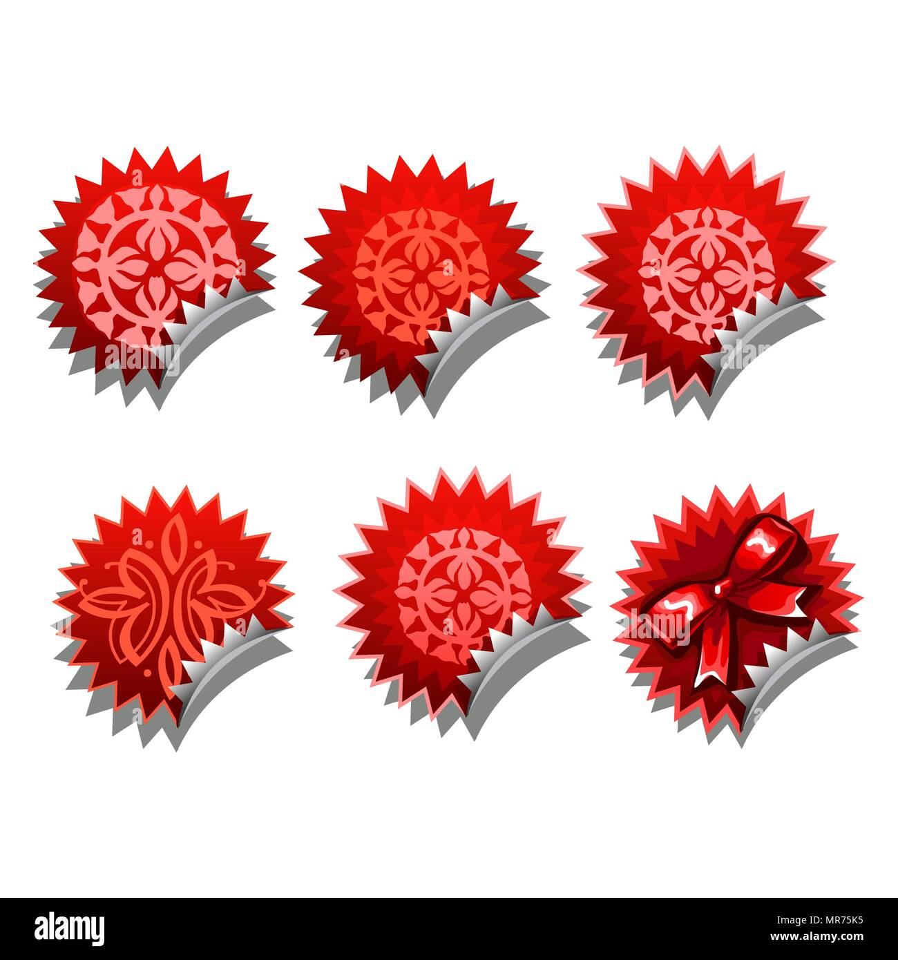 Set of red stickers with a bowknot isolated on a white background. Cartoon vector close-up illustration. - Stock Vector
