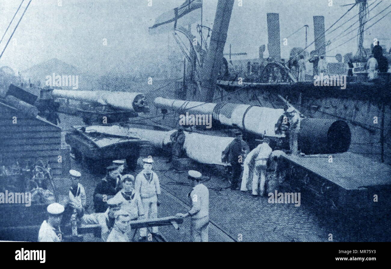 EQUIPPING OLD Royal Navy BATTLESHIPS, FOR action in the DARDANELLES. The Naval Operations in the Dardanelles Campaign (17 February 1915 – 9 January 1916) took place against the Ottoman Empire during the First World War. Ships of the Royal Navy, French Marine nationale, Imperial Russian Navy and the Royal Australian Navy, attempted to force the defences of the Dardanelles Straits. - Stock Image