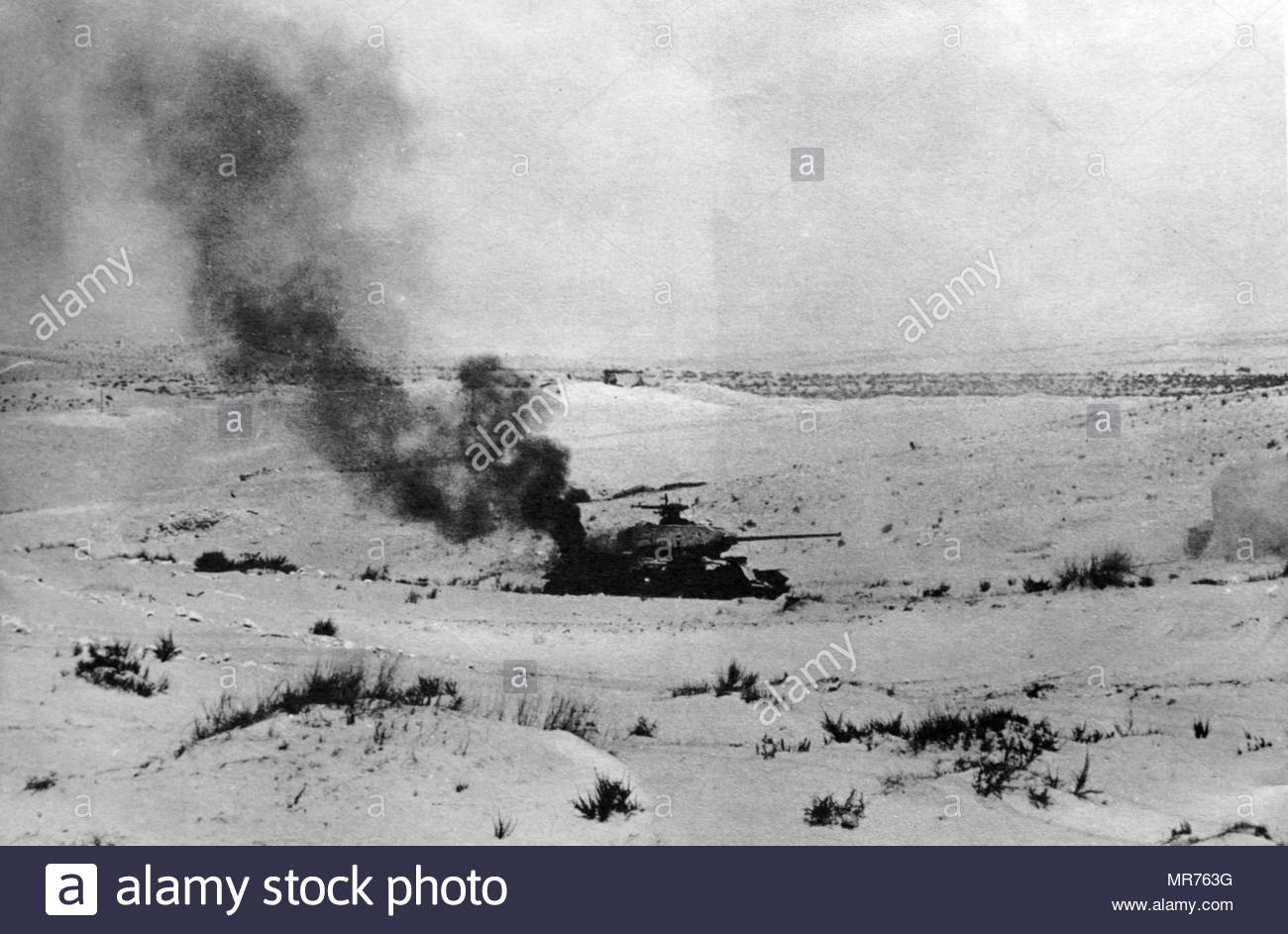 Israeli Egyptian army tank destroyed in action in the Sinai Peninsula during the Six Day War 1967 - Stock Image