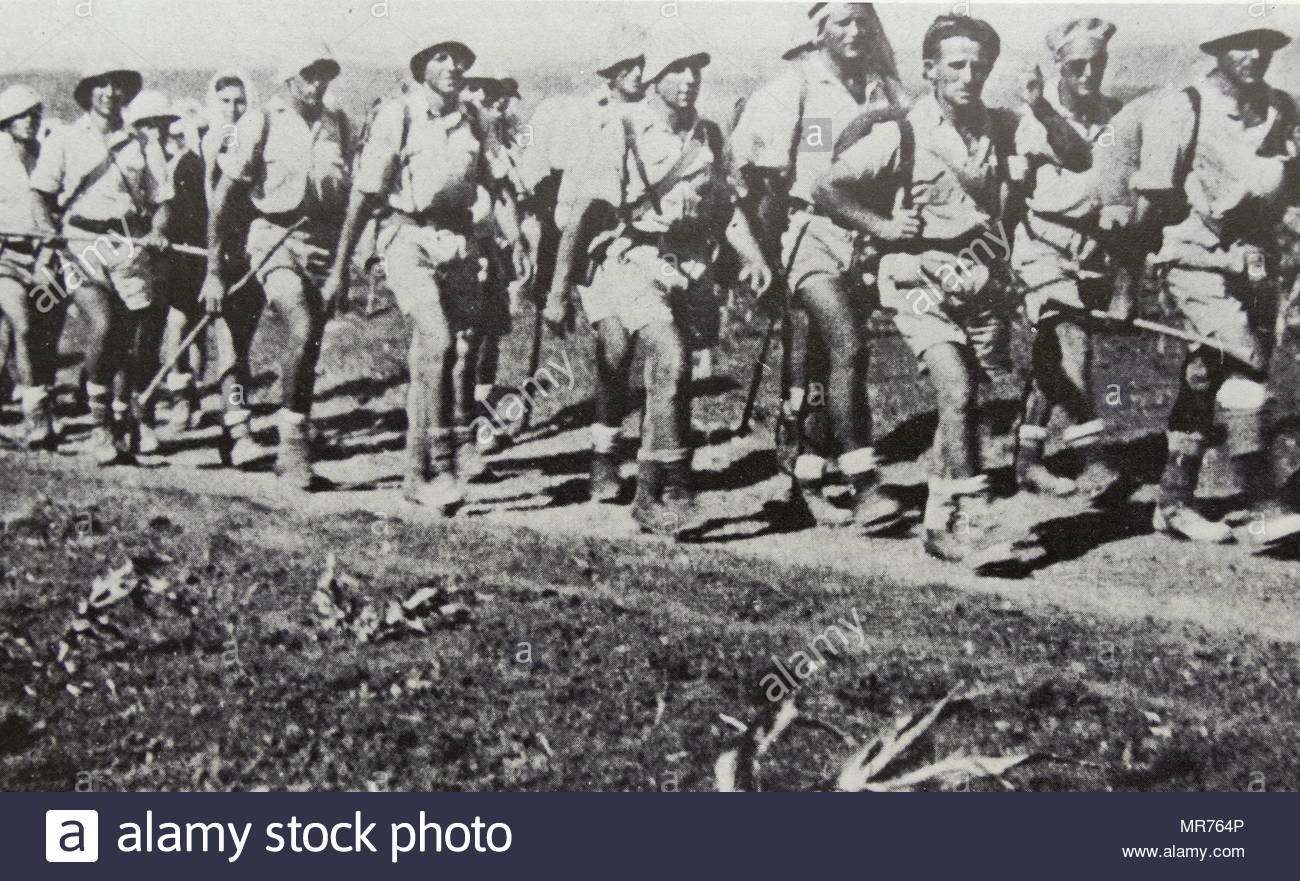Palmas unit in training in Palestine (Israel), 1943. The Palmas was the elite fighting force of the Haganah, the underground army of the Yishuv (Jewish community) during the period of the British Mandate for Palestine. The Palmas was established on 15 May 1941. - Stock Image