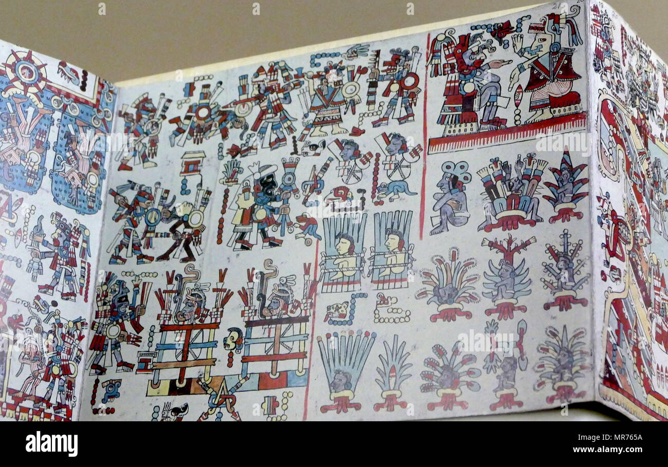 The Codex Zouche-Nuttall or Codex Tonindeye is an accordion-folded pre-Columbian document of Mixtec pictography, now in the collections of the British Museum. It is one of about 16 manuscripts from Mexico that are entirely pre-Columbian in origin. Circa 14th century Stock Photo