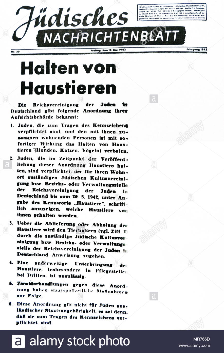 Nazi Era, Decree May 1942. Effective immediately, Jews are forbidden to keep-pets (dogs, cats, birds). By May 20, 1942, Jews must file a list of the pets they are keeping. They will be notified regarding the sur-render of these pets, but they may not turn them over to a third person. - Stock Image