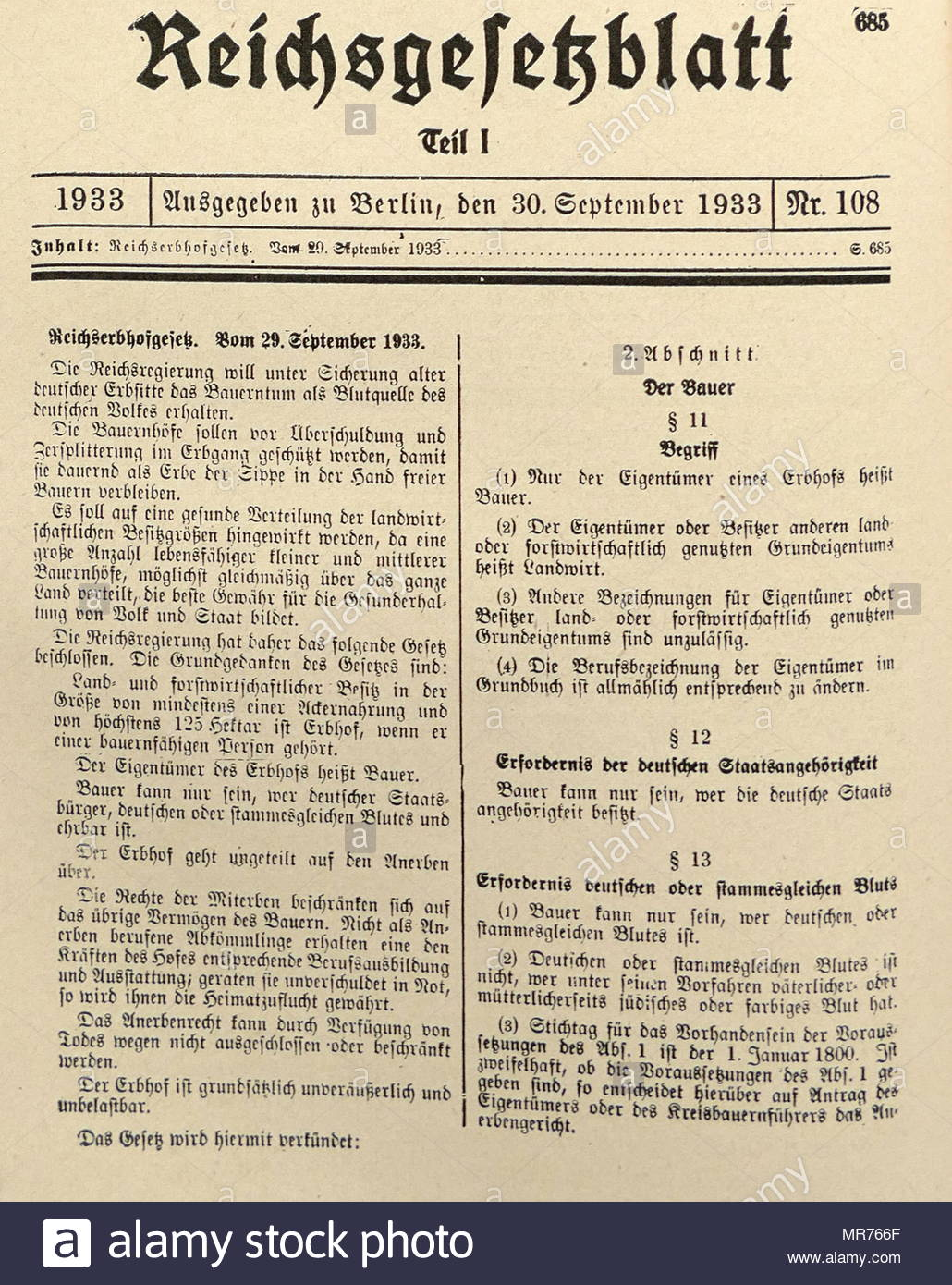 Nazi Era, Decree : The Hereditary Farm Law (September 29, 1933. The Hereditary Farm Law of September 29, 1933, was a first step toward state control of the agrarian economy and was intended to protect German farmers against the unpredictable vagaries of the modern market economy, industrialization, and urbanization. - Stock Image