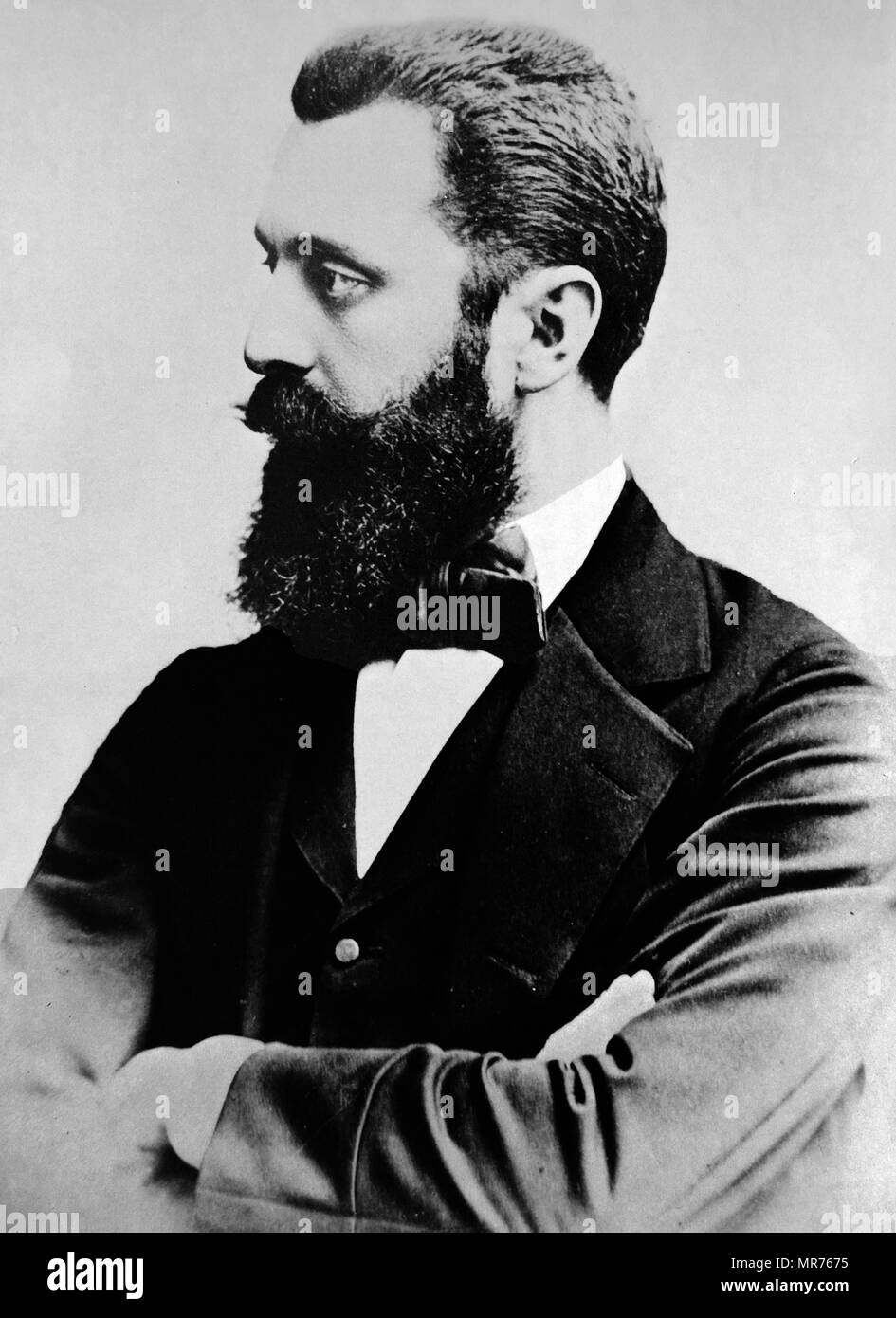 Theodor Herzl (1860 – 1904), Austro-Hungarian journalist, playwright, political activist, and writer who was the father of modern political Zionism. Herzl formed the Zionist Organization and promoted Jewish immigration to Palestine in an effort to form a Jewish state. Though he died before its establishment, he is known as the father of the State of Israel. - Stock Image