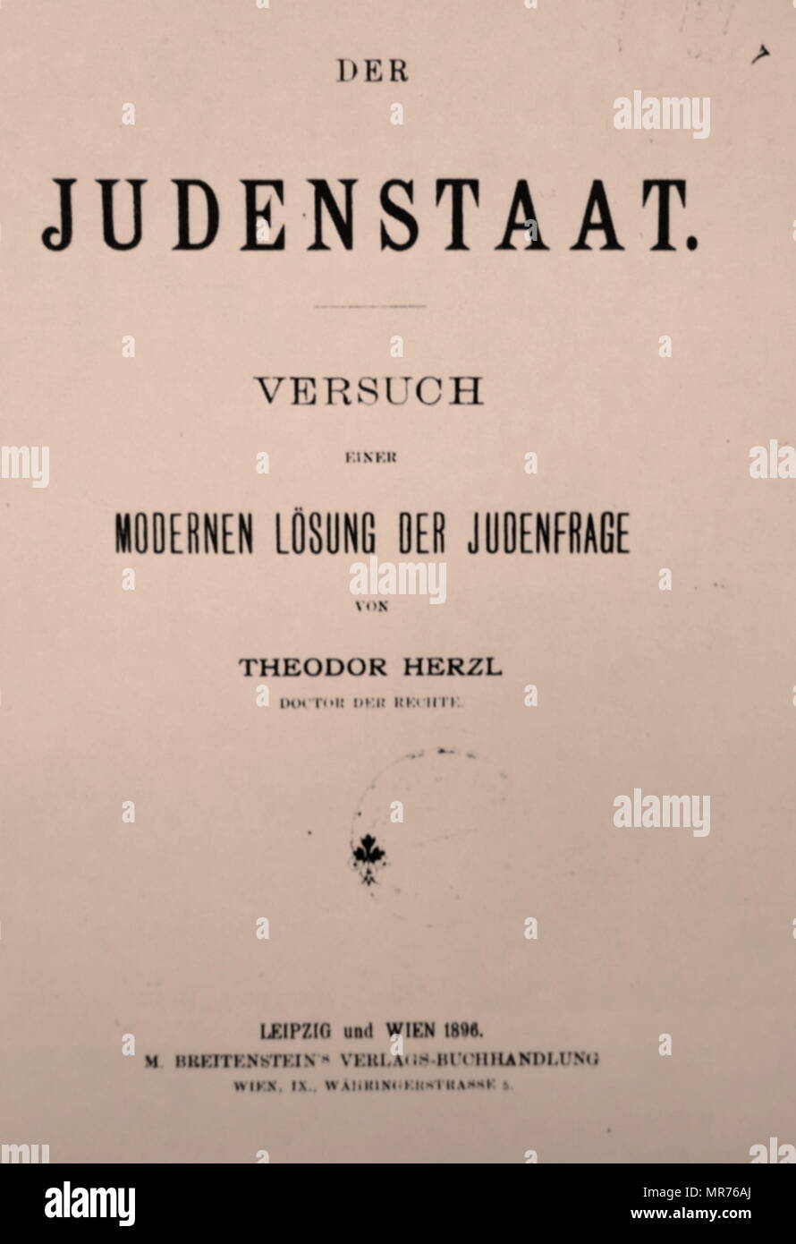 1896 Edition of Der Judenstaat, by Theodor Herzl, the Austro-Hungarian journalist; father of modern political Zionism. Herzl formed the Zionist Organization and promoted Jewish immigration to Palestine in an effort to form a Jewish state. Der Judenstaat (The Jewish State) is a pamphlet written by Herzl and considered one of the most important texts of early Zionism. Herzl envisioned the founding of a future independent Jewish state during the 20th century. He argued that the best way to avoid anti-Semitism in Europe was to create this independent Jewish state. - Stock Image