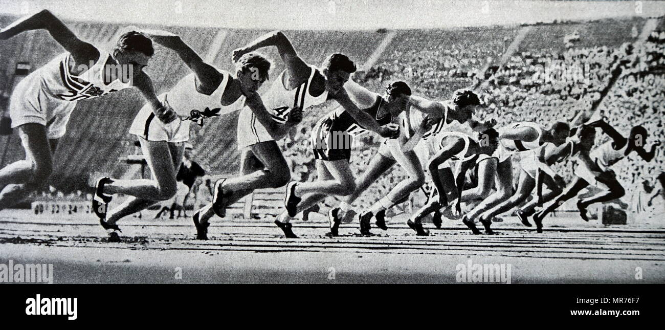 Photograph taken at the start of the 800 meter race at the 1932 Olympics where Tommy Hampson from England went on to win. - Stock Image
