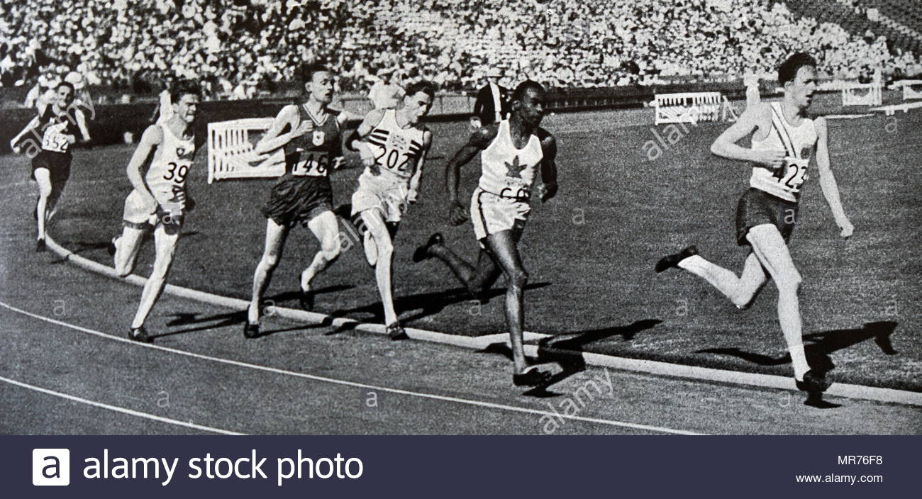 Photograph of Phil Edwards (1907-1971) in the 800 meter race in the 1932 Olympic games. Edwards competed in the 1932 Summer Olympics in Los Angeles and in the 1936 Summer Olympics in Berlin, where he was one of a number of black athletes, to compete before the Hitler regime. Phil's nickname was 'Man of Bronze' due to the amount of bronze medals he had won over his career. - Stock Image