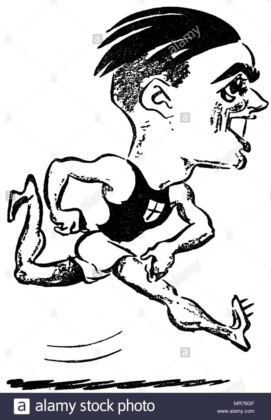 cartoon drawing of a italian athlete luigi beccali during the 1932