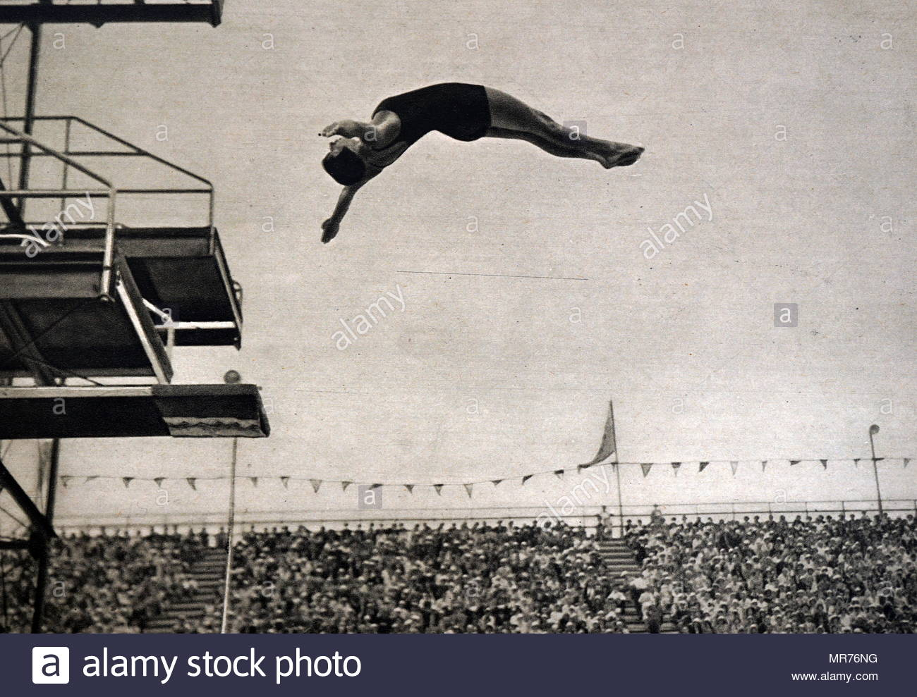 Photograph of Olga Jordan (1913 -  2000) a German diver at the 1932 Olympic games. - Stock Image