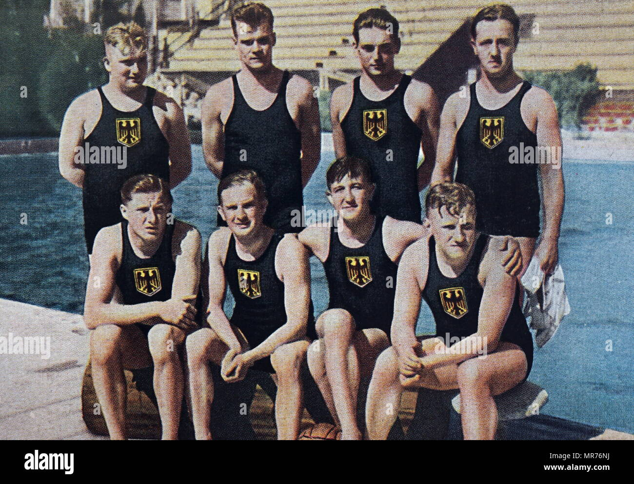 Photograph of the German water polo team at the 1932 Olympic games. - Stock Image