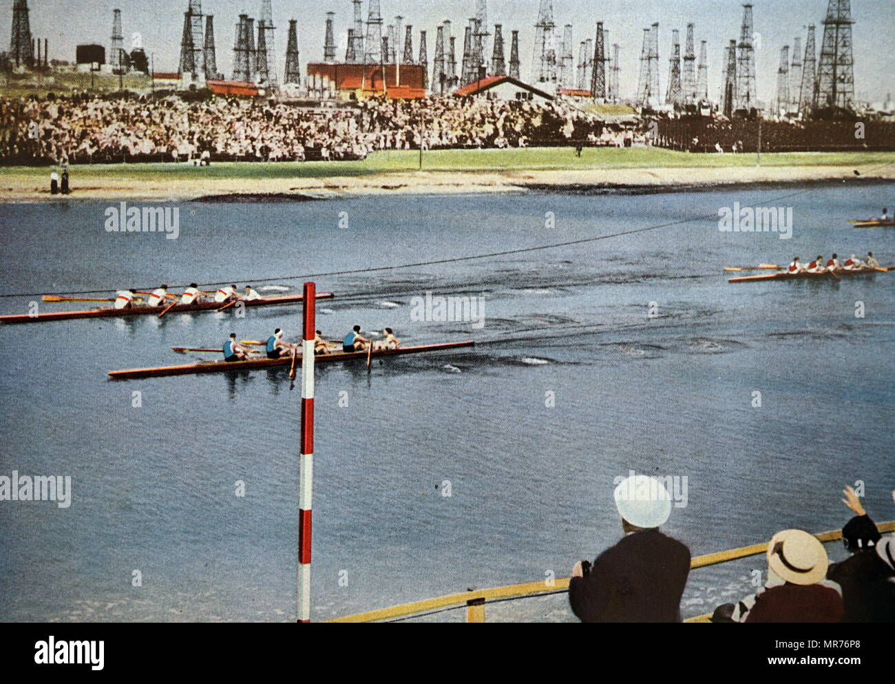 Photograph of the Coxed fours rowing at the 1932 Olympic games. The photo shows Germany win Gold over Italy who took silver. - Stock Image