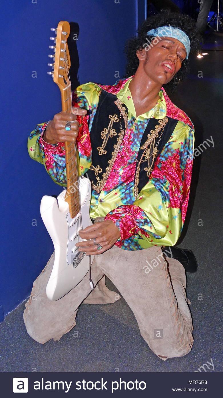 Waxwork statue of Jimi Hendrix (1942 – 1970), an American rock guitarist, singer, and songwriter. - Stock Image