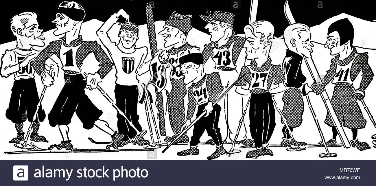 Cartoon of the cross-country skiing at the 1932 Winter Olympic games. Stock Photo