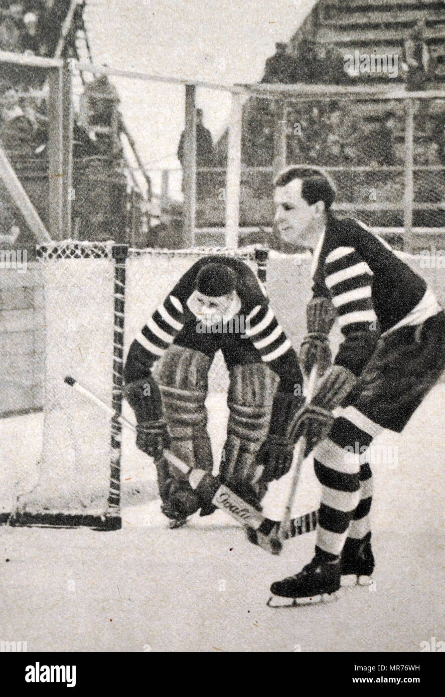 Photograph of Germany Vs. Poland in the ice hockey at the 1932 winter Olympic games. - Stock Image