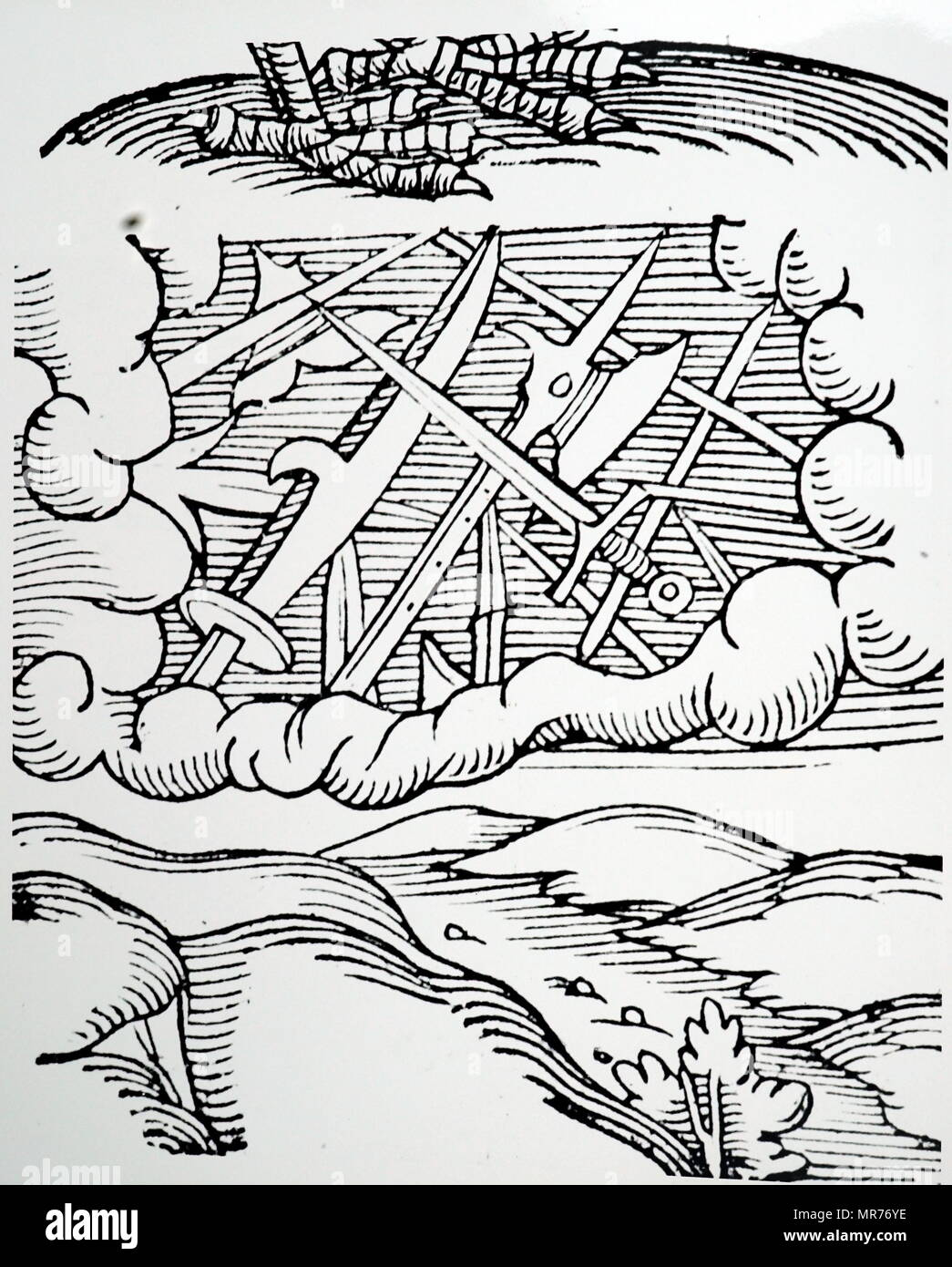 Woodblock engraving depicting a meteor shower of 103 BC shown as swords, pikes and battleaxes, Basel, Switzerland. Dated 16th century - Stock Image
