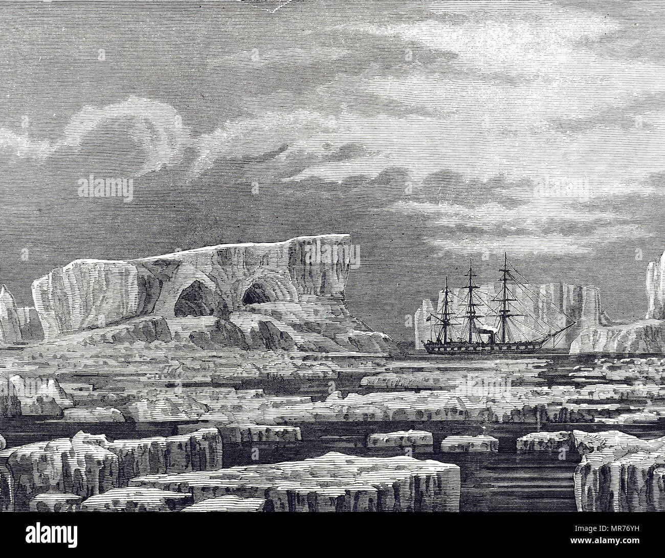 Engraving depicting the HMS Challenger among icebergs in the Antarctic. Dated 19th century - Stock Image