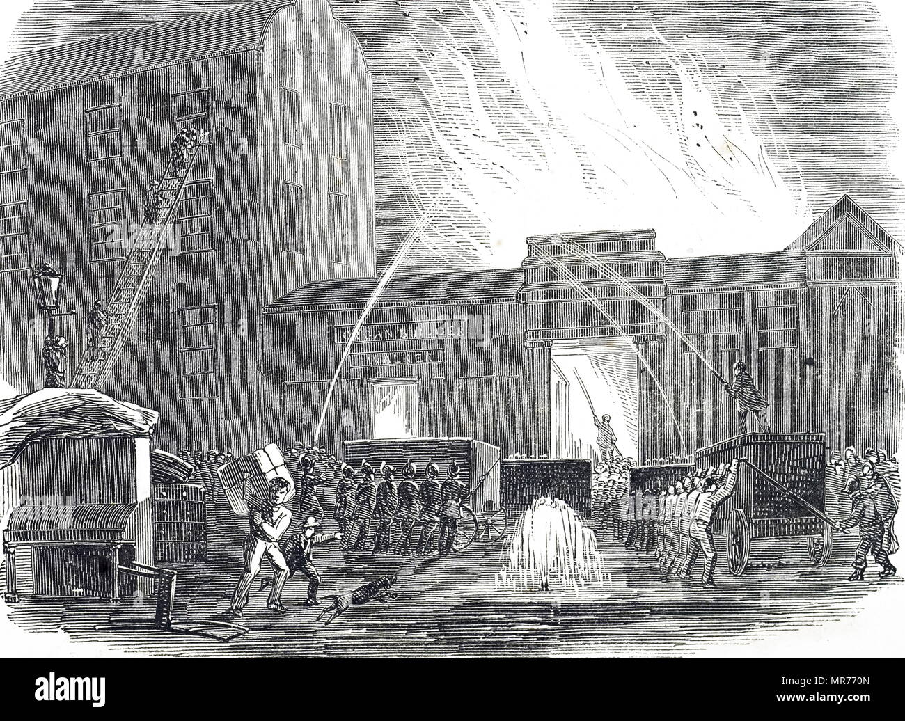 Engraving depicting fire-fighters battle a blaze near Tottenham Court Road, London. The appliances being used here are of the chest type and were worked by teams of men on either side of the appliance working pumps to produce a jet of water. Dated 19th century - Stock Image